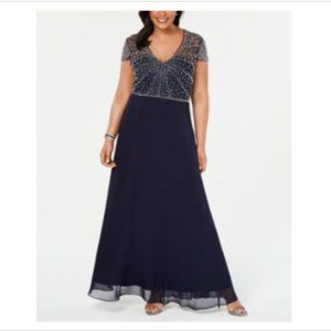 Betsy Adam Formal Long Beaded Gown Plus Navy